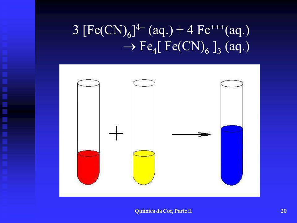 3 [Fe(CN)6]4 (aq.) + 4 Fe+++(aq.)  Fe4[ Fe(CN)6 ]3 (aq.)